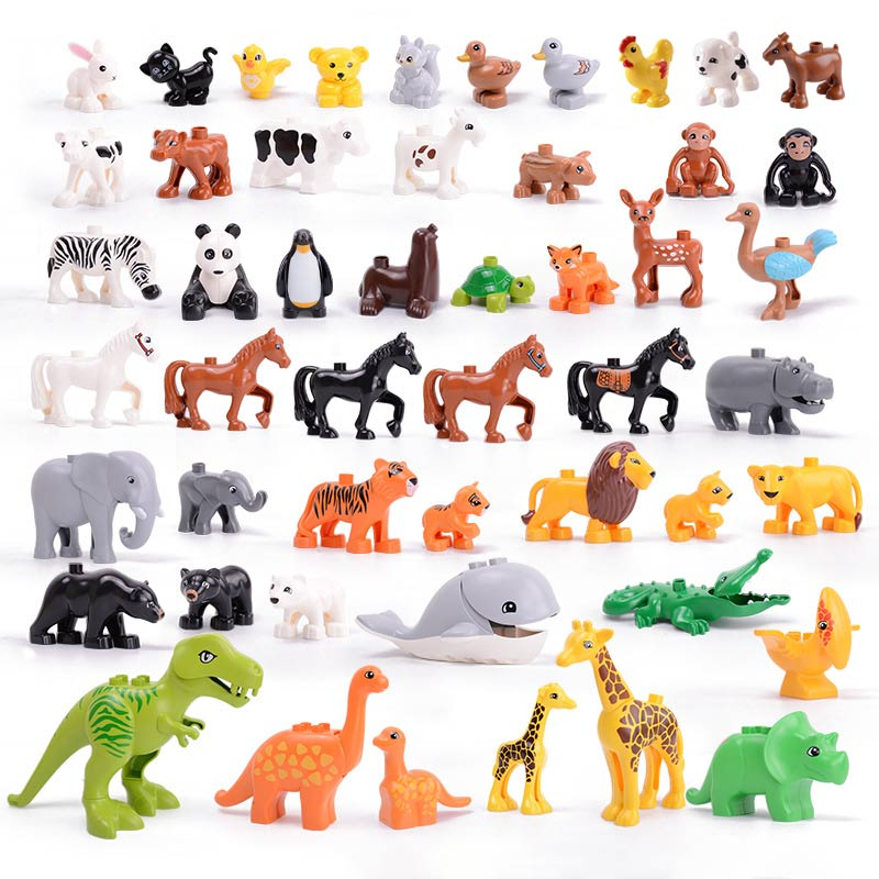 Legoing Duplos Animals Series Model Figures Jurassic Dinosaur World Big Large Particle Building Blocks Brick Toys For Childrens