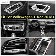 Lapetus Edelstahl Zubehör Für Volkswagen T-Roc T Roc 2018 - 2021 Tür Griff Schüssel/AC Air klimaanlage Abdeckung Kit Trim