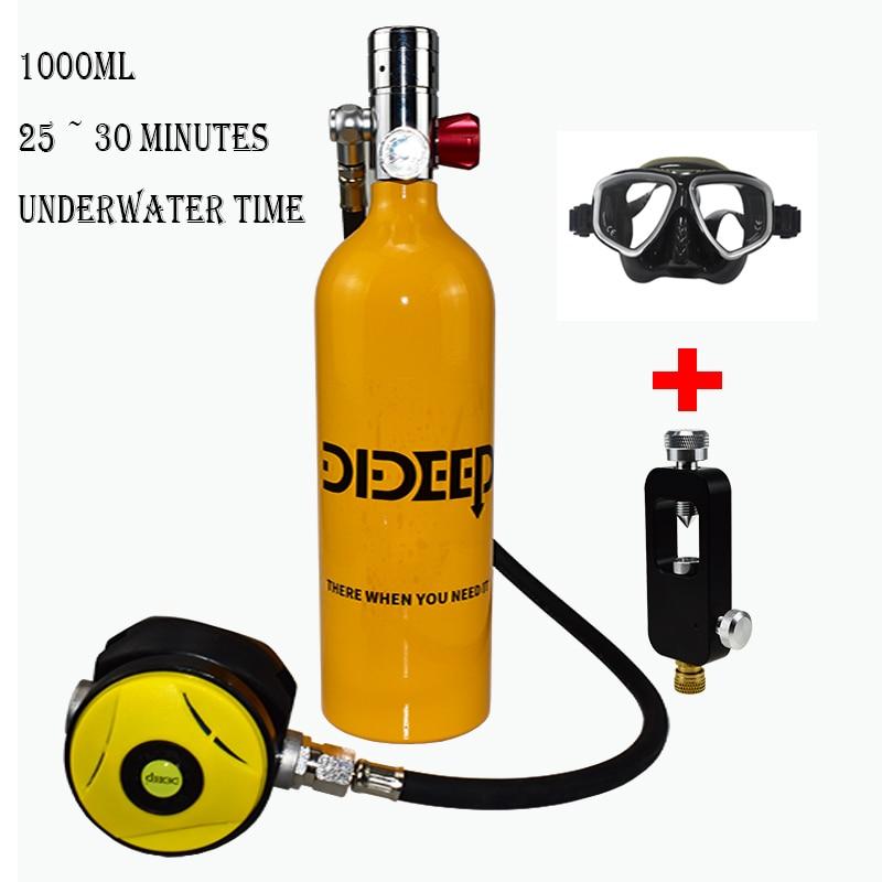 DIDEEP 1000ml mini équipement de plongée plongée réservoir d'oxygène plongée petit cylindre de gaz plongée en apnée réservoir d'oxygène