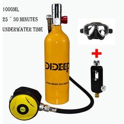 DIDEEP 1000ml mini diving equipment diving oxygen tank diving small gas cylinder scuba snorkeling oxygen tank