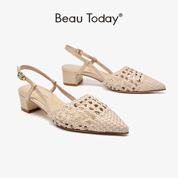 BeauToday Sandals Women Genuine Cow Leather Weaving Detail Pointed Toe Buckle Strap Summer Ladies Med Heel Shoes Handmade 31094