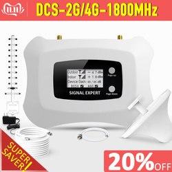 Impulsionador móvel do sinal do lcd dcs 1800 mhz com jogo da antena de yagi amplificador do telefone celular do repetidor 2g 4g