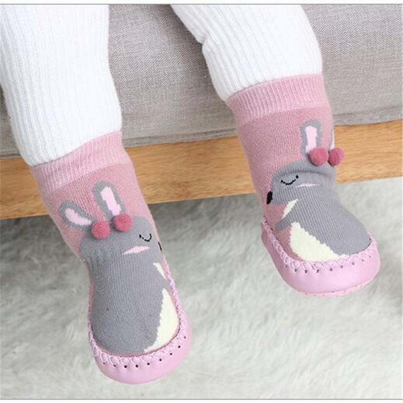 Детские носки для новорожденных, зимние толстые махровые хлопковые носки с резиновой подошвой для девочек, забавные детские носки с животными