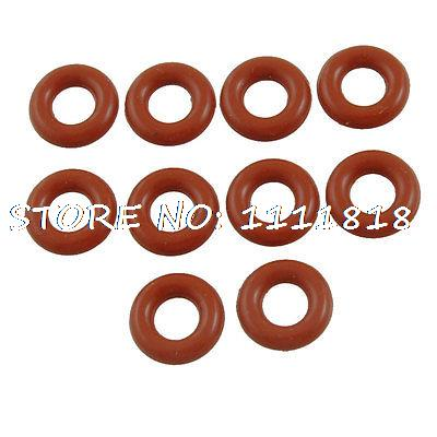 10 Pcs 12mm OD 3mm Thickness Red Silicone O Ring Oil Seals
