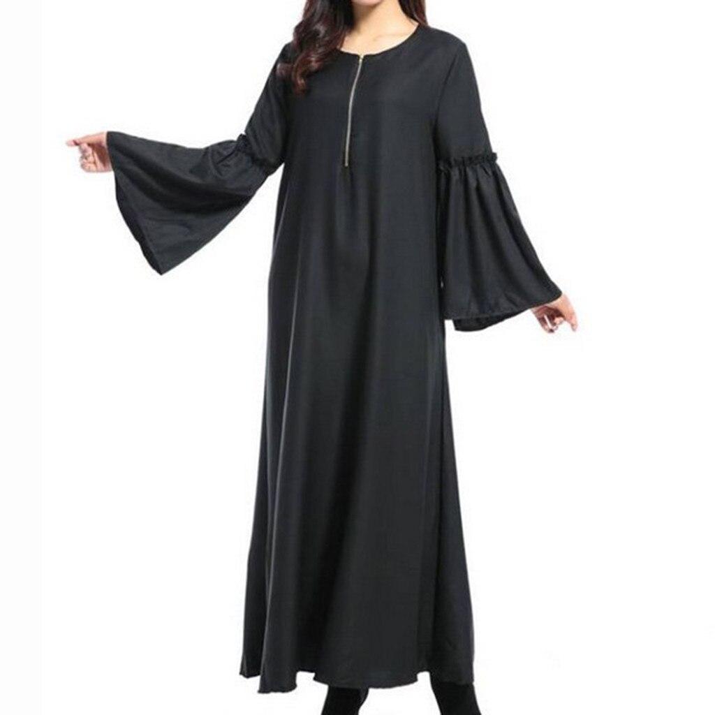 Muslim Abaya Bat Sleeve Maxi Dress Zipper Loose Long Robe Gowns Ramadan Turkey Islamic Prayer Clothing Worship Service 10.29