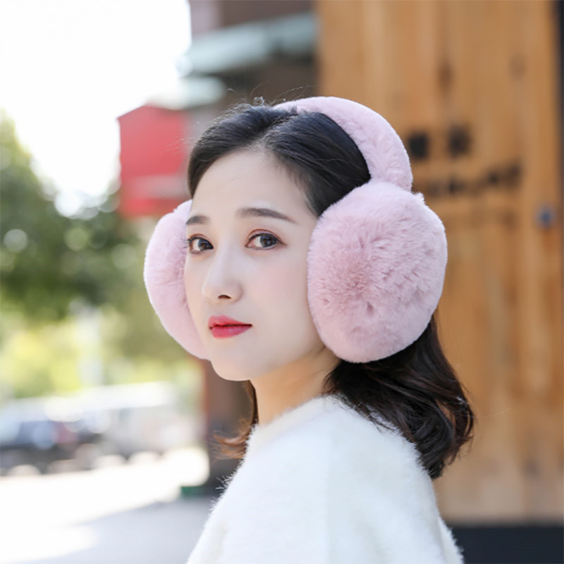 2019 Solid Women Foldable Winter Earmuffs Faux Fur Hamburger Ear Warmer Plush Headgear Fur Headphones Ear Muffs AD0915