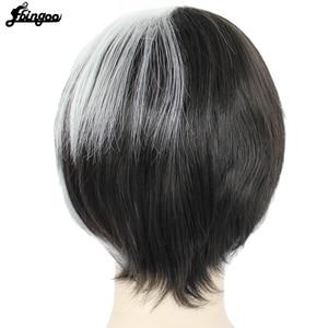 Image 5 - Ebingoo Круэлла Девиль женские парики средней длины Белый Черный Многослойные синтетические Косплэй парик для Для женщин вечерние костюмы на Хэллоуин + парик Кепки