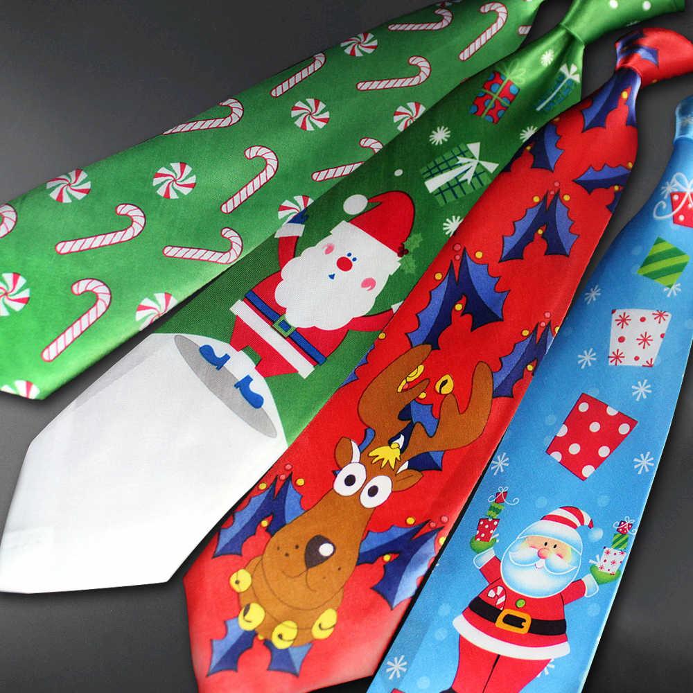 Christmas Christmas Tree Men  Necktie Red Ties Printed Halloween Snowman Tie New