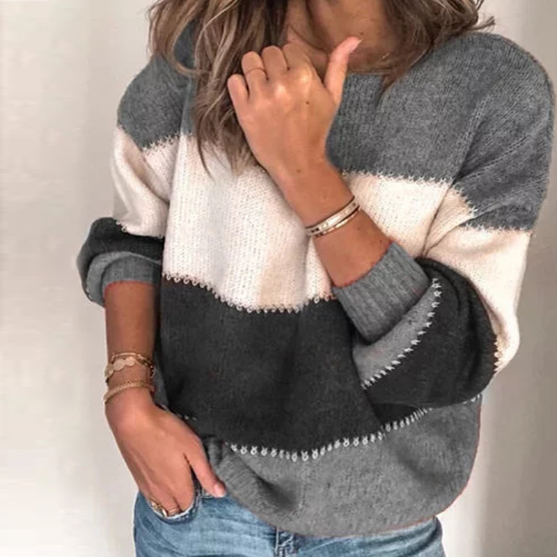 VIEUNSTA Fashion Patchwork O-neck Autumn Winter Sweater 19 Women Long Sleeve Warm Knitted Sweaters Pullover Female Tops Jumper 14