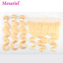 Mesariel 613 Bundles With Frontal Brazilian Body Wave 3 Bundles With Closure Non Remy Hair Blonde Bundles With Frontal Closure(China)