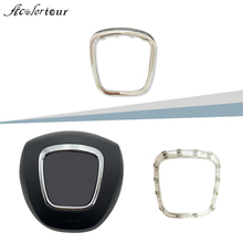 For Audi A3 8P S3 A4 B6 B7 B8 A6 C6 Q5 Q7 steering wheel sticker center cover trim emblem ring badge frame abs chrome silver on AliExpress