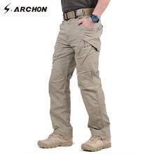 IX9ผ้าฝ้าย97% ชายทหารยุทธวิธีCargoกางเกงชายSWATต่อสู้กางเกงทหารชายหลายกระเป๋าผ้าฝ้ายยืดกางเกง