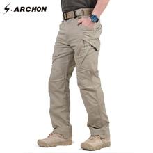 IX9 97% כותנה גברים צבאי טקטי מכנסיים מטען גברים SWAT Combat צבא מכנסיים זכר מקרית רבים כיסים למתוח כותנה מכנסיים