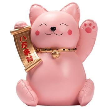 Cute joyous cat resin decorative sculpture happy pink cat living room art statue furnishing