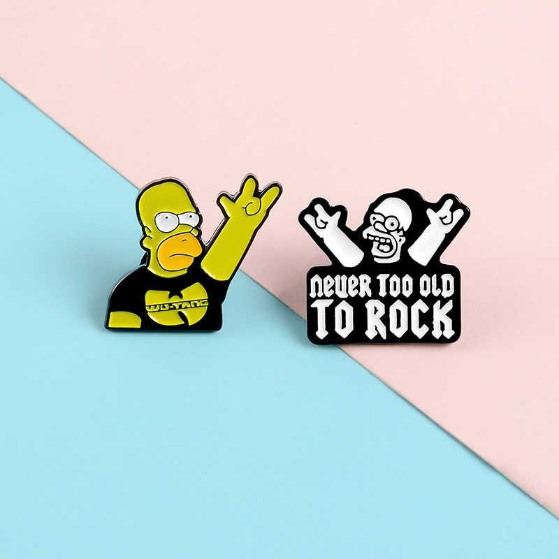 Qihe Perhiasan Mari Kita Rock Simpson WU-TANG Band Enamel Kartun Bros Lencana Denim Pakaian Tas Pin Hadiah untuk Para Penggemar teman