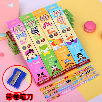 Cute Wooden HB Pencil 96 Pcs Cartoon Hexagon Pencil with Eraser School Stationery Student Drawing Writing Supplies Kids Pencils фото