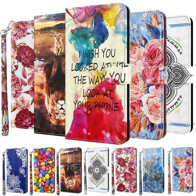 3D สีสันโทรศัพท์กรณีสำหรับ Samsung Galaxy A01 A02S A10 A20 A20E A30 A50 A30S A50S A70 A40กระเป๋าสตางค์ฝาครอบหนัง