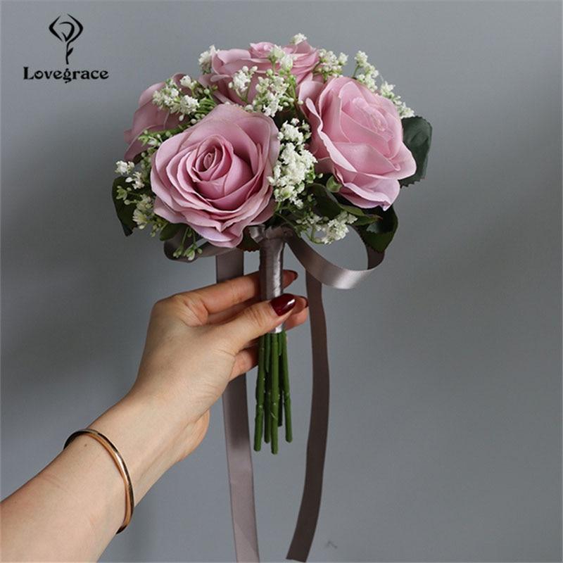 Lovegrace Bride Rose Bouquet Wedding Supplies Bridesmaid Rose Baby's Breath Bouquet Flower Arrangement DIY Home Party Prom Decor