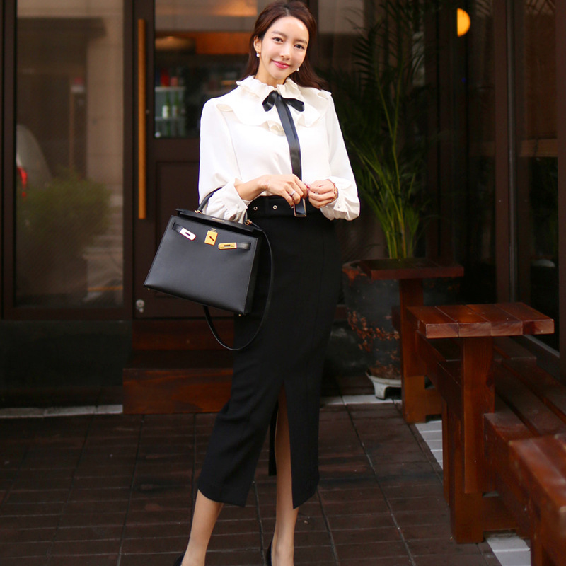 2020 Spring Clothing New Products Ol Career Elegant Flounced Shirt Tops High-waisted Slim Fit Sheath Medium-length Dress Two-Pie