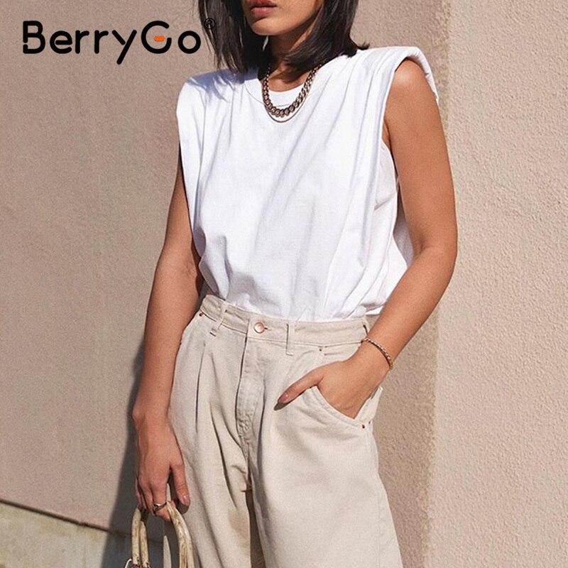 BerryGo O-neck Women White Shirt Tank Tops Streetwear Sleeveless Summer Female Tops Casual Chic Leisure Fashion New Tops 2020