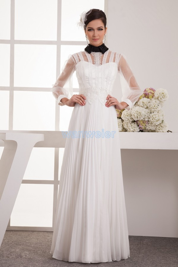 Free Shipping 2016 New Design Hot High Neck Long Sleeve Beading Brides Maid Dress With Jacket White Mother Of The Bride Dresses