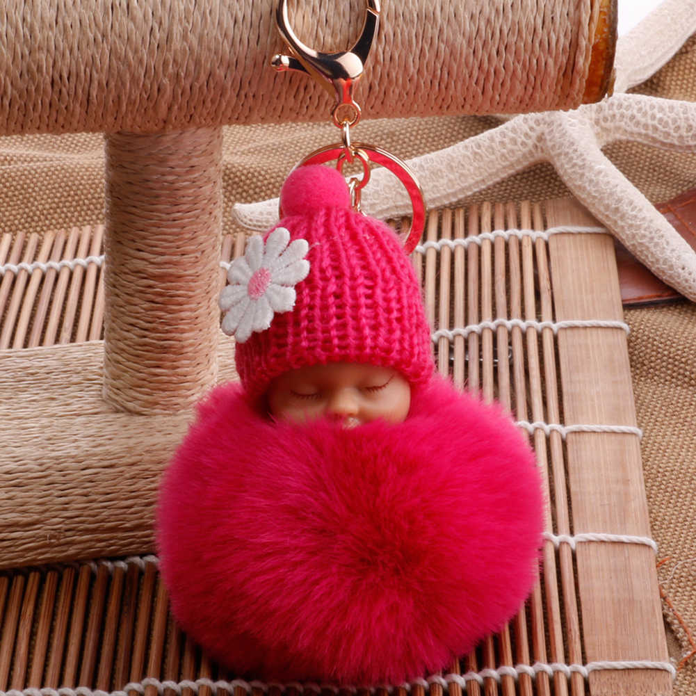 Bebê dormindo fofo pompom boneca de pelúcia pendurado pingente chaveiro chaveiro presente de aniversário vento sinos pendurado ornamento decorações