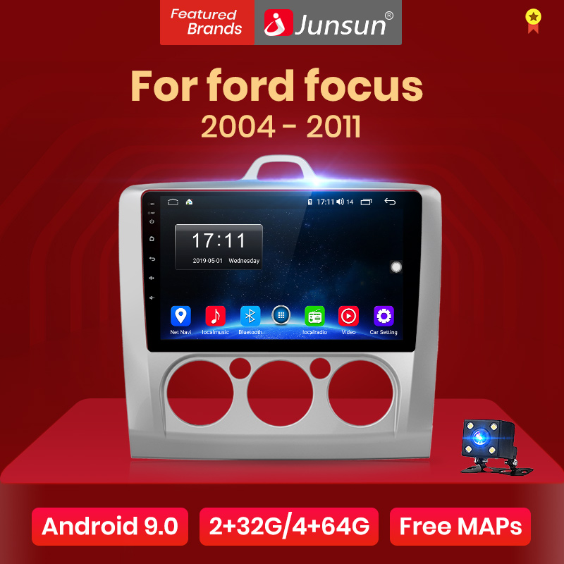 Junsun V1 2G + 32G Android 9.0 Dsp Auto Radio Multimedia Video Player Navigatie Gps Voor Ford Focus 2 3 Mk2/Mk3 Hatchback 2 Din Dvd title=