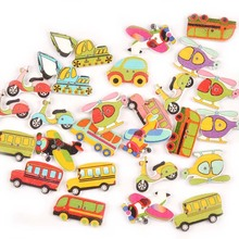 40pcs Environmentally Friendly Wooden Cartoon Button DIY Childrens Toy Aircraft Car Printing Color Buckle Jewelry Decorative