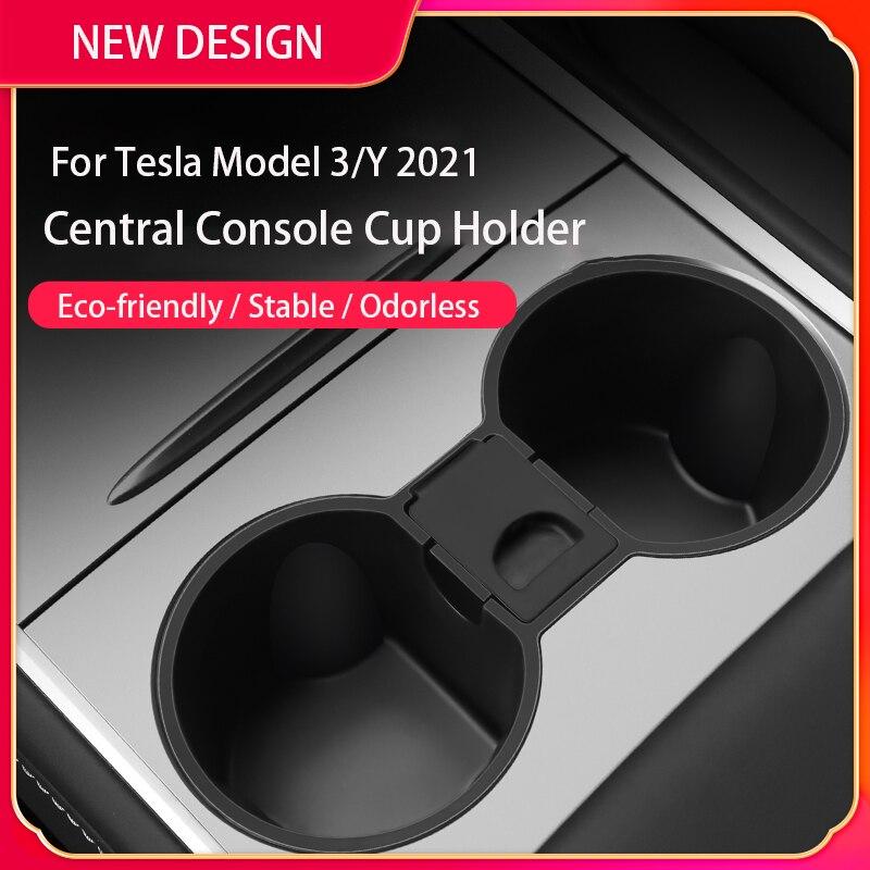 Автомобильный держатель для чашки Tesla Model 3 2021, силиконовые автомобильные аксессуары для интерьера, слот, ограничитель для чашки Tesla Model Y, Пря...