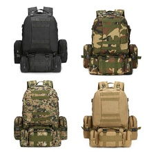 55L Molle askeri sırt çantası ordu alan Survival Camo seyahat çantası çok fonksiyonlu çift omuz büyük kapasiteli sırt çantası