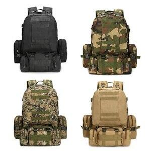 Image 1 - 55L Molle العسكرية على ظهره الجيش المجال بقاء كامو حقيبة سفر متعددة الوظائف مزدوجة الكتف حقيبة ظهر بسعة كبيرة
