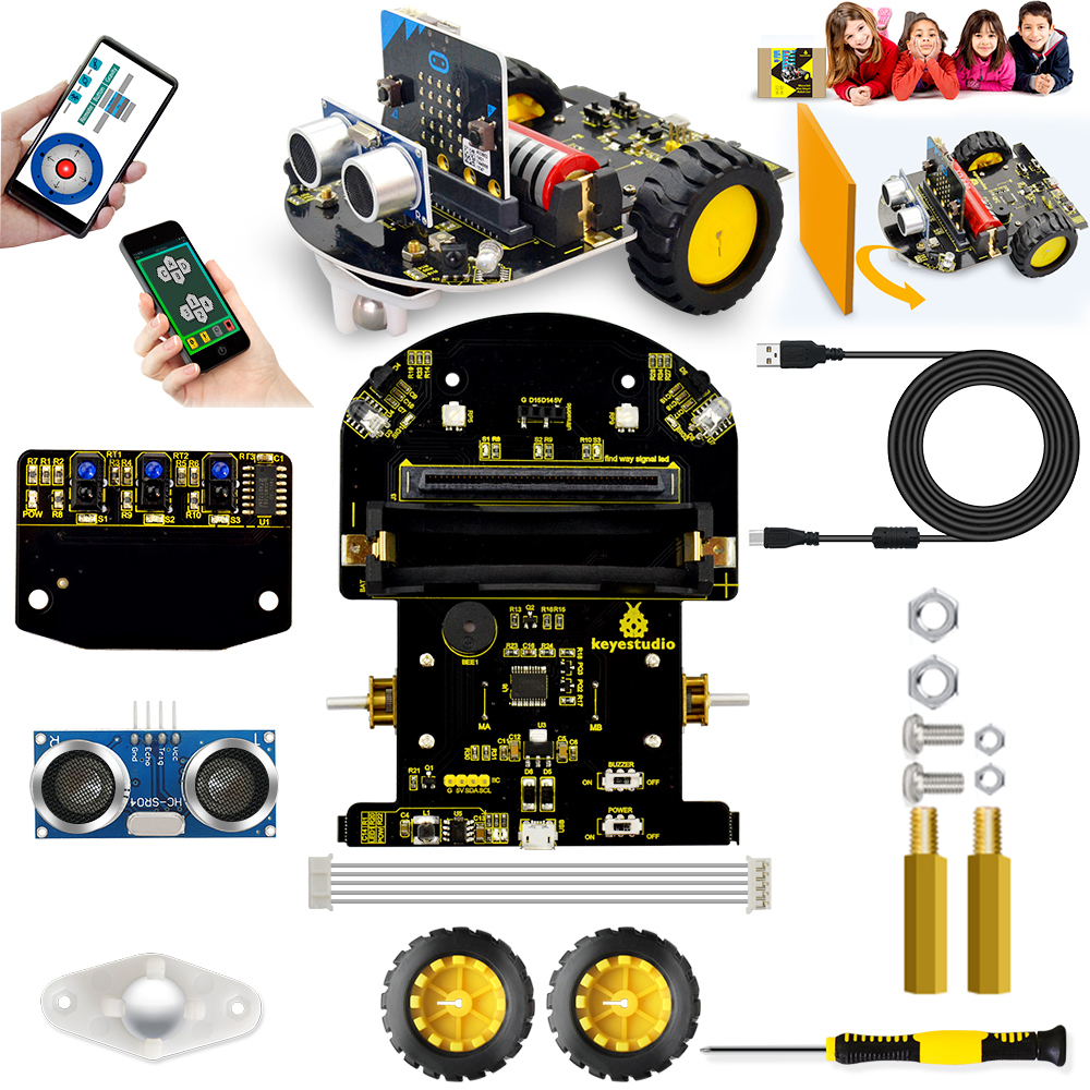 Keyestudio Micro:bit Mini Smart Robot Car For Arduino (No Micro:bit Main Board)