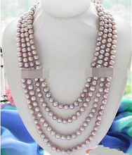 "1634 100"" 8~9MM WHITE PINK ROUND FW CULTURED PEARL NECLACE(China)"