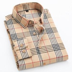 Мужская классическая рубашка на пуговицах, повседневная приталенная рубашка с длинным рукавом, современный облегающий топ в клетку, рубашк...