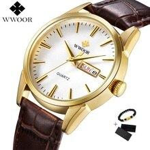 Relogio WWOOR Watch Men Top Brand Luxury Men's Gold Black Qu