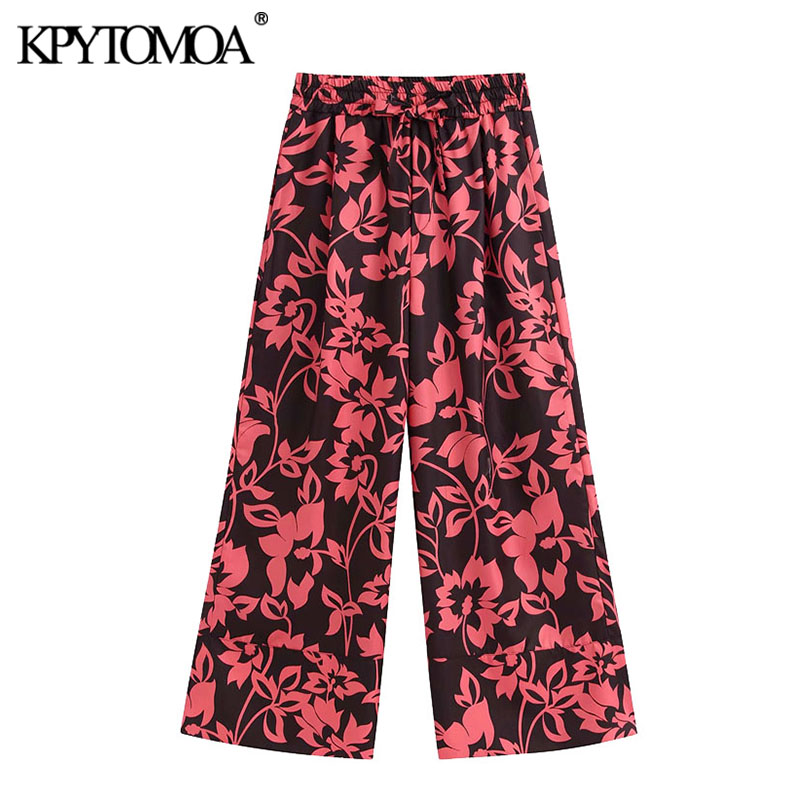 KPYTOMOA Women 2020 Chic Fashion Floral Print Pockets Pants Vintage Elastic Waist Drawstring Tied Female Ankle Trousers Mujer