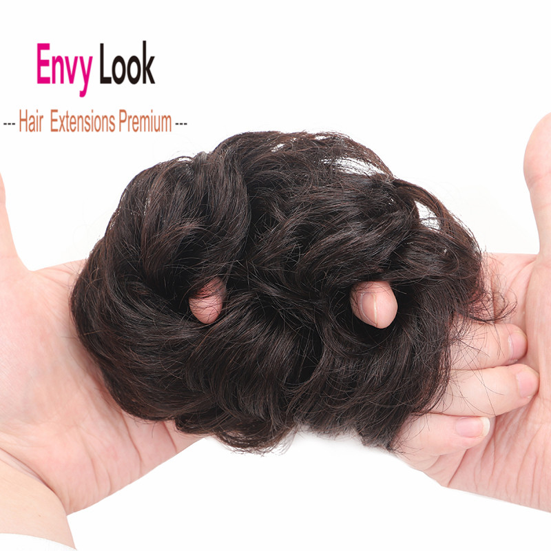Envy Look Hair Piece 100% Human Hair Bun  Sewn One Strong Clip In Front Head Hair Bangs with Dark Brown and Blonde Color