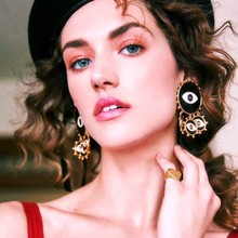New Creative European And American Fashion Hipster Alloy Earrings Exaggerated Dripping Oil Black Demon Eye Tassel