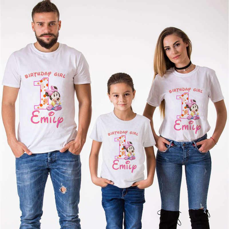 Mouse Keluarga Yang Sesuai dengan Pakaian T-shirt Mommy dan Saya Pakaian Saya 1st Ulang Tahun Tshirt Anak Laki-laki Pakaian Birthday Lengan Pendek kemeja