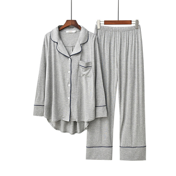 2PCS Pajama Sets Women Long Sleeve Solid Modal Loose Breathable Soft Oversized Womens Korean Style Home Clothing Comfortable - discount item  45% OFF Women's Sleep & Lounge