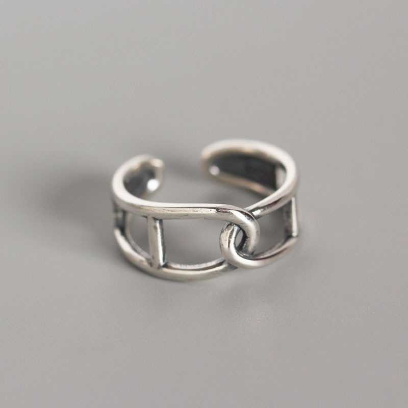 DAIWUJAN Real 925 Sterling Silver Geometric Vintage INS Style Hollow Twist Winding Cross Open Rings Female Retro Finger Ring