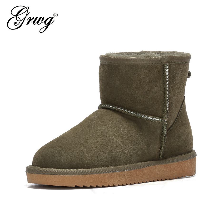 GRWG Australia Women Snow Boots 100% Genuine Cowhide Leather Ankle Boots Warm Winter Boots Woman shoes large size 34-44