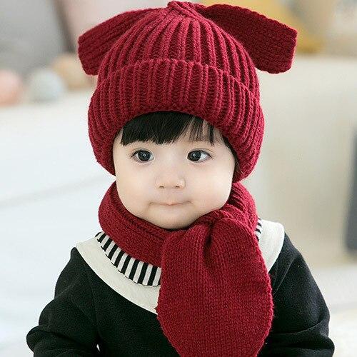 Puppy Wool Knitting Thicken Ear Cap Scarf Set Winter Autumn Baby Beanie Boy Girl Children Knitted Warm Gift