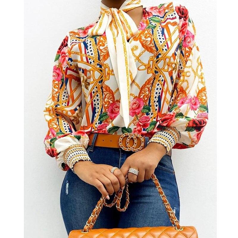 Scarf Neck Baroque Print Top Blouses Women Retro Print Lantern Sleeve Blouse Shirt Elegant Office Lady Shirt Fashion 4