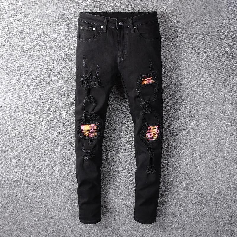 Fashion Streetwear Men Jeans Black Color Patchwork Destroyed Ripped Jeans Men Elastic Punk Pants Hip Hop Skinny Jeans Homme