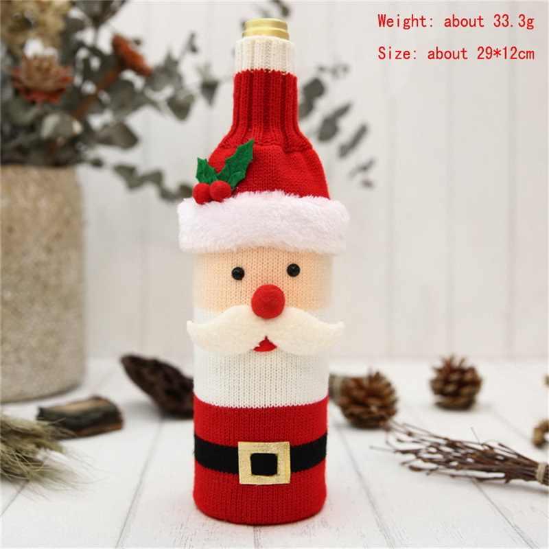 คริสต์มาส Santa Claus ถักสีแดงไวน์ขวดสำหรับบาร์คริสต์มาสขวดตกแต่งกระเป๋า Dinner Table Decor 29x12cm
