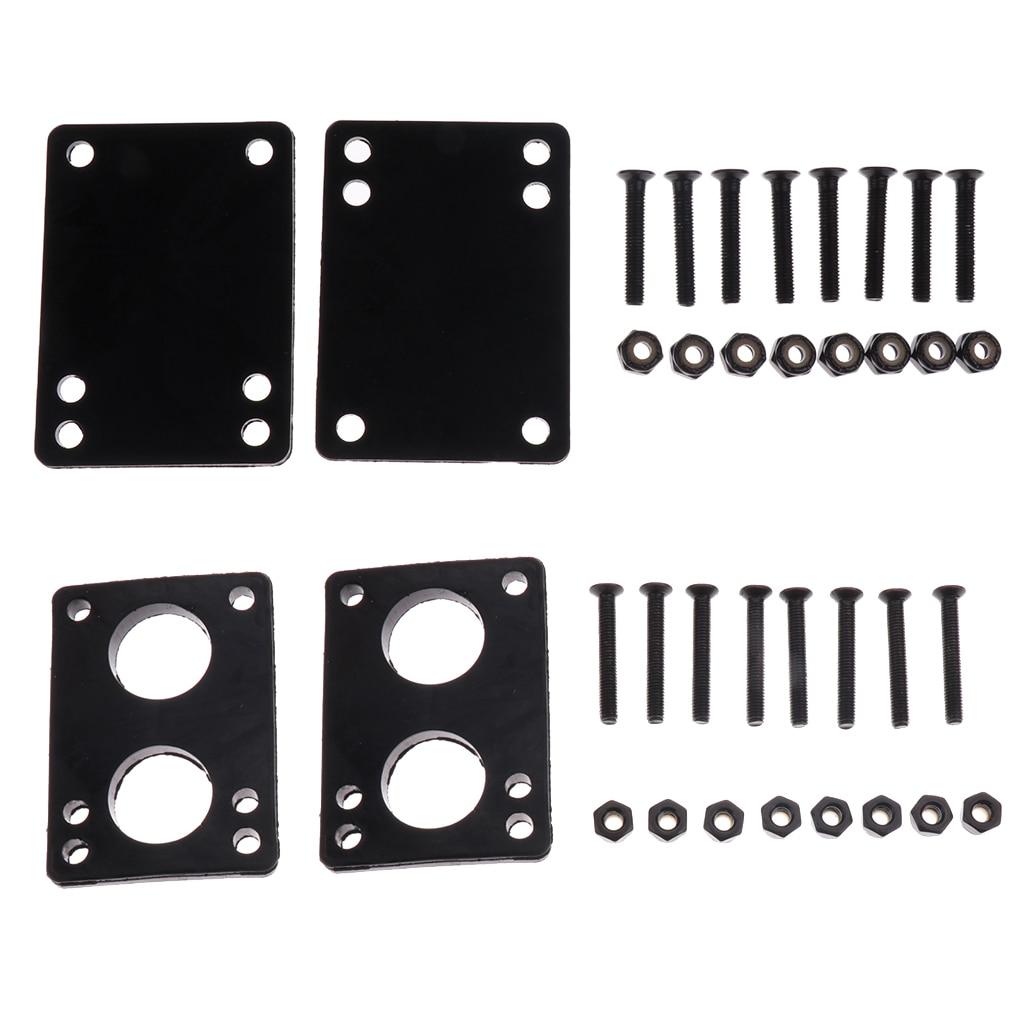 Skateboard Hardware Rubber Riser Pad Skateboard Screw Set Easy Installation 3mm Pad+6mm Pad