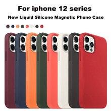 Oficial genuíno líquido silicone magsafe caso para iphone 12 pro max caso magnético de luxo 1:1 sem fio carga capa para iphone 12