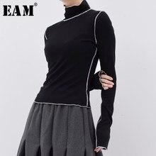 [EAM] femmes ligne noire fendu Joint mince loisirs T-shirt nouveau col roulé à manches longues mode marée printemps été 2021 JE15501
