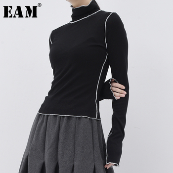 [EAM] Women Black Line Split Joint Slim Leisure T-shirt New Turtleneck Long Sleeve  Fashion Tide Spring Summer 2021 JE15501 - discount item  33% OFF Tops & Tees